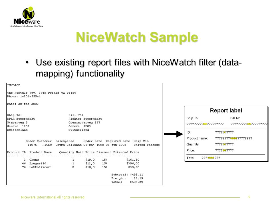 Niceware International All rights reserved 9 NiceWatch Sample Use existing report files with NiceWatch filter (data- mapping) functionalityUse existing report files with NiceWatch filter (data- mapping) functionality