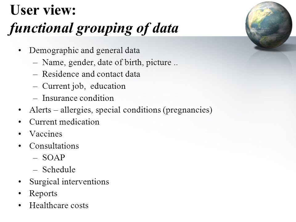 User view: functional grouping of data Demographic and general data –Name, gender, date of birth, picture.. –Residence and contact data –Current job,