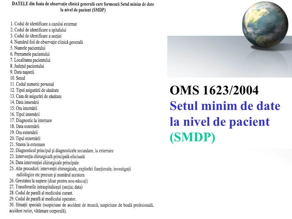 OMS 1623/2004 Setul minim de date la nivel de pacient (SMDP)
