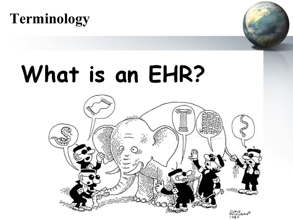 Terminology CPR (computer-based patient record) PCR (patient-carried record) CMR (computerized medical record) EMR (electronic medical record) EPR (electronic patient record) EHR (electronic healthcare record)