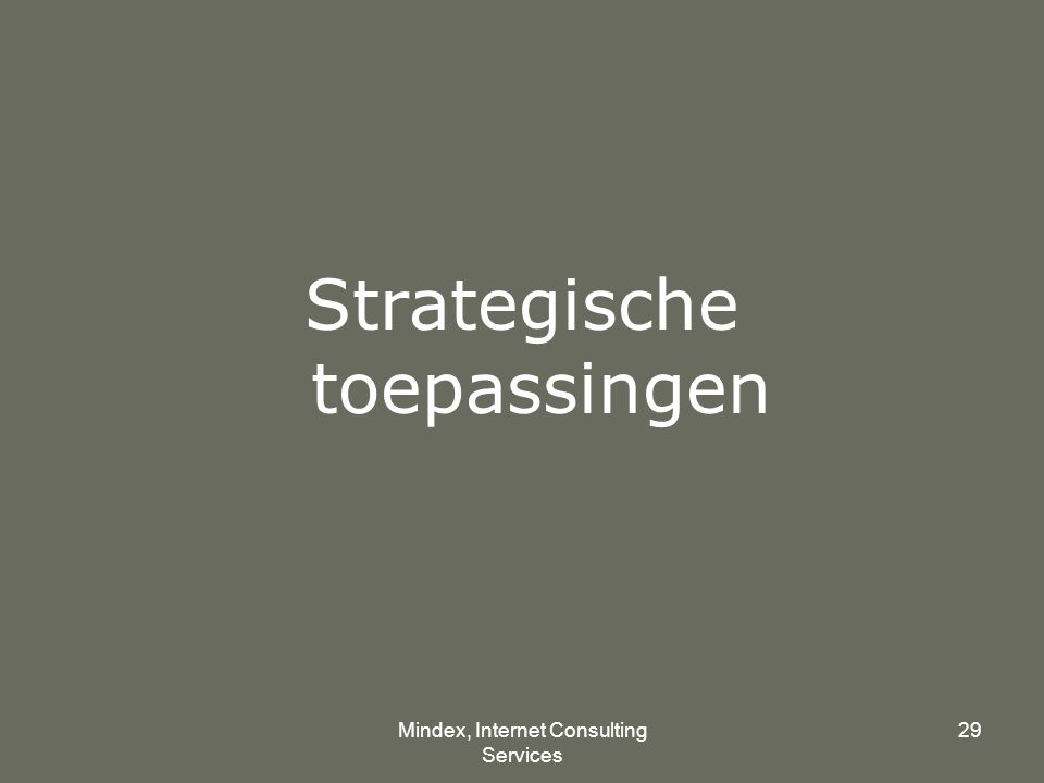 Mindex, Internet Consulting Services 29 Strategische toepassingen