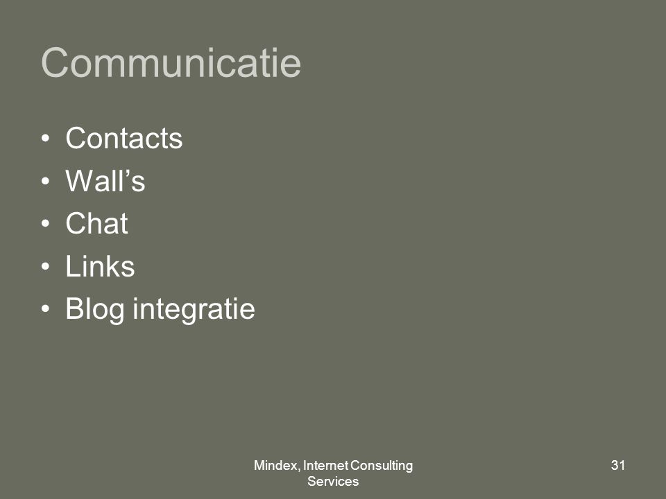 Mindex, Internet Consulting Services 31 Communicatie Contacts Wall's Chat Links Blog integratie
