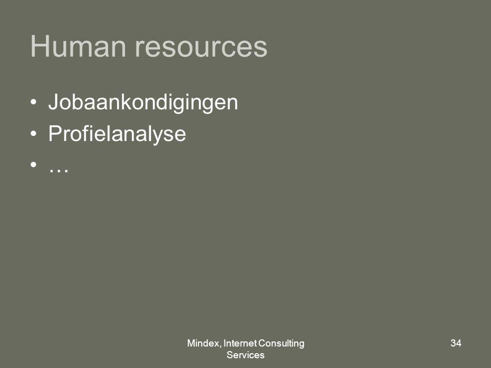 Mindex, Internet Consulting Services 34 Human resources Jobaankondigingen Profielanalyse …