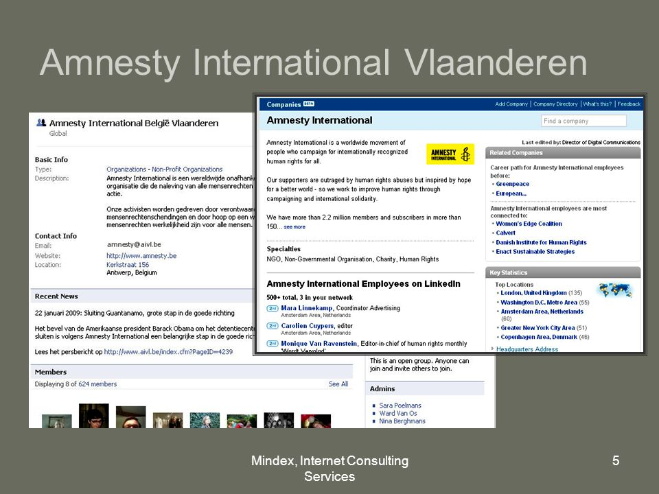 Mindex, Internet Consulting Services 5 Amnesty International Vlaanderen