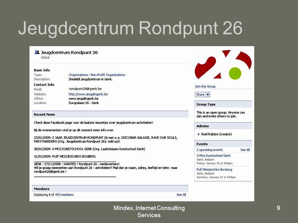 Mindex, Internet Consulting Services 9 Jeugdcentrum Rondpunt 26