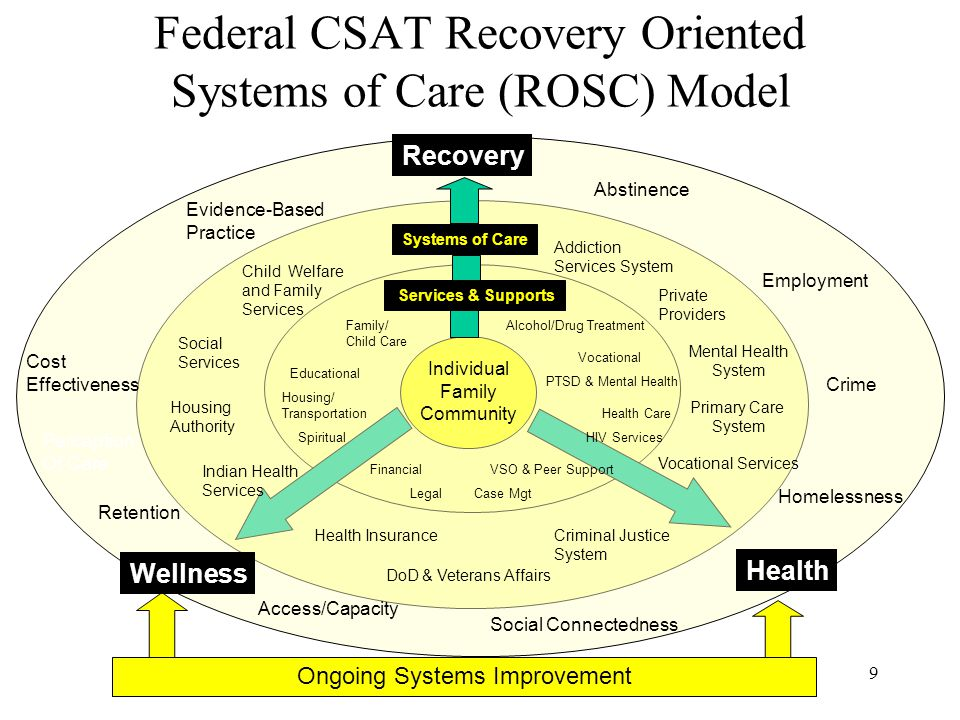 9 Federal CSAT Recovery Oriented Systems of Care (ROSC) Model Individual Family Community Ongoing Systems Improvement Family/ Child Care Housing/ Tran