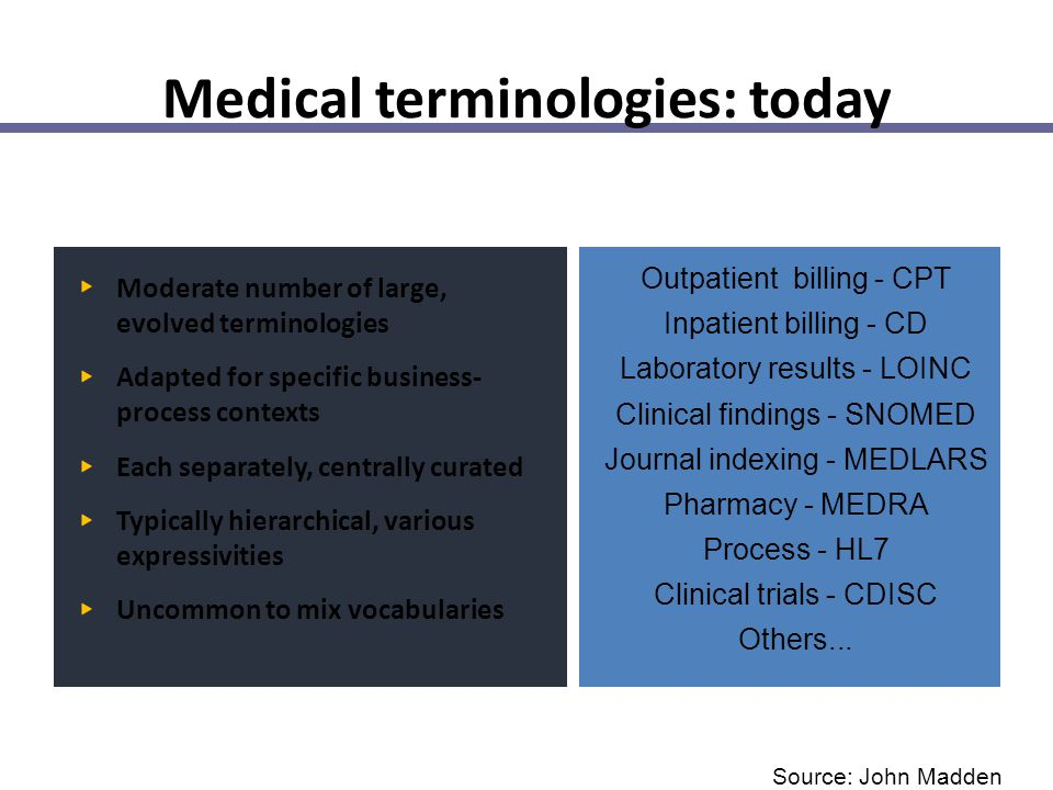 Medical terminologies: today Moderate number of large, evolved terminologies Adapted for specific business- process contexts Each separately, centrall