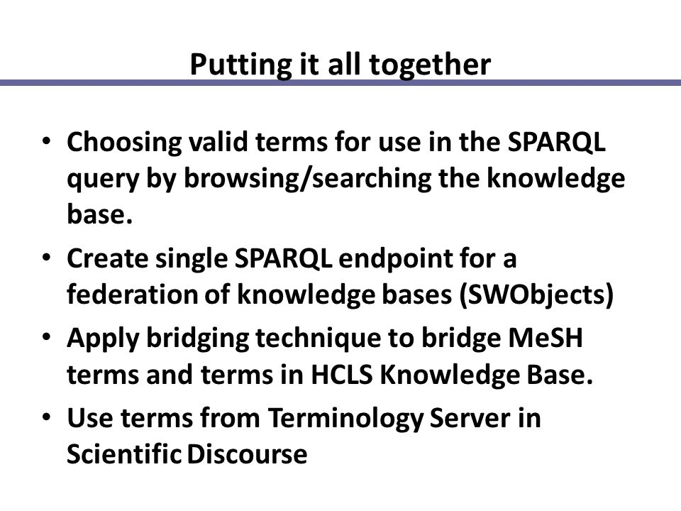 Putting it all together Choosing valid terms for use in the SPARQL query by browsing/searching the knowledge base. Create single SPARQL endpoint for a