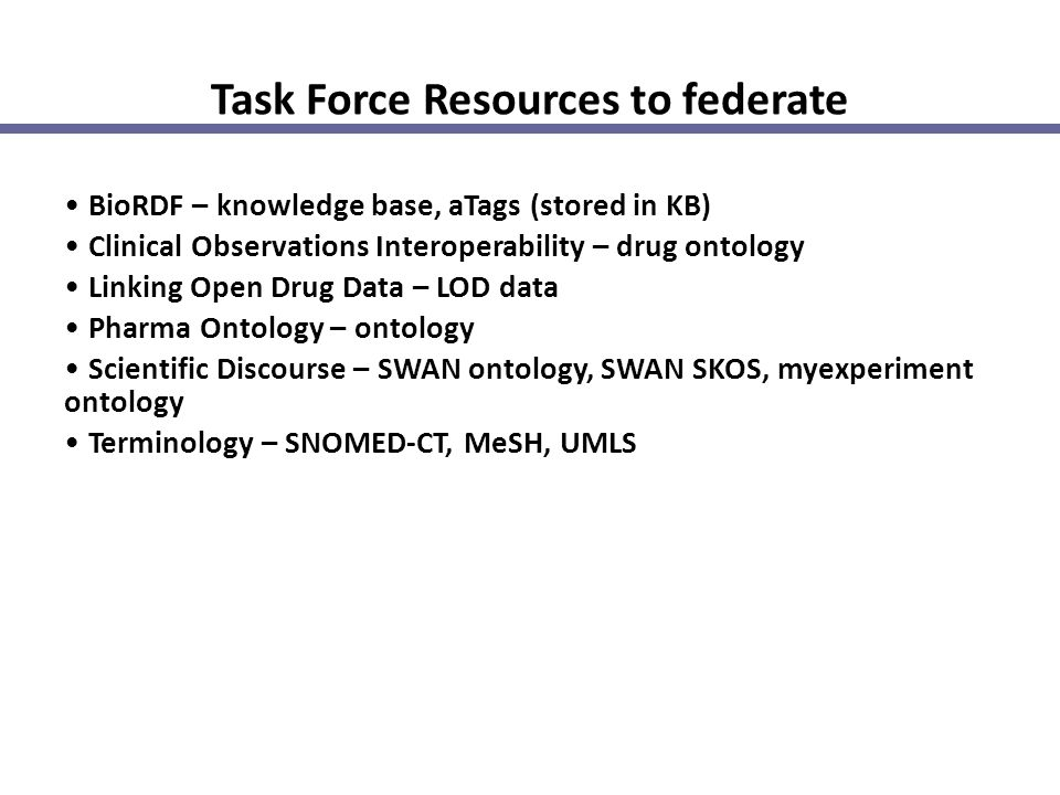 Task Force Resources to federate BioRDF – knowledge base, aTags (stored in KB) Clinical Observations Interoperability – drug ontology Linking Open Dru