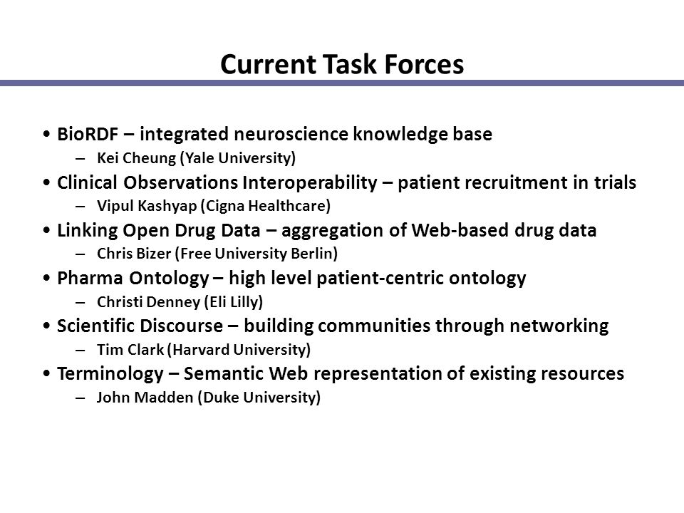Current Task Forces BioRDF – integrated neuroscience knowledge base – Kei Cheung (Yale University) Clinical Observations Interoperability – patient re