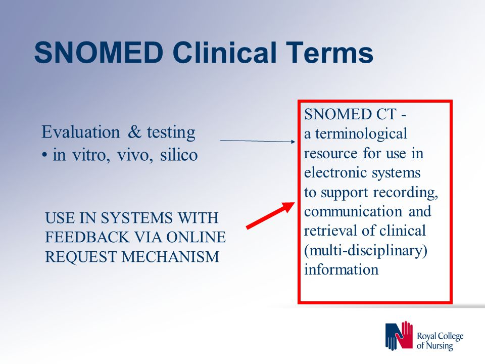 SNOMED Clinical Terms Evaluation & testing in vitro, vivo, silico SNOMED CT - a terminological resource for use in electronic systems to support recording, communication and retrieval of clinical (multi-disciplinary) information USE IN SYSTEMS WITH FEEDBACK VIA ONLINE REQUEST MECHANISM