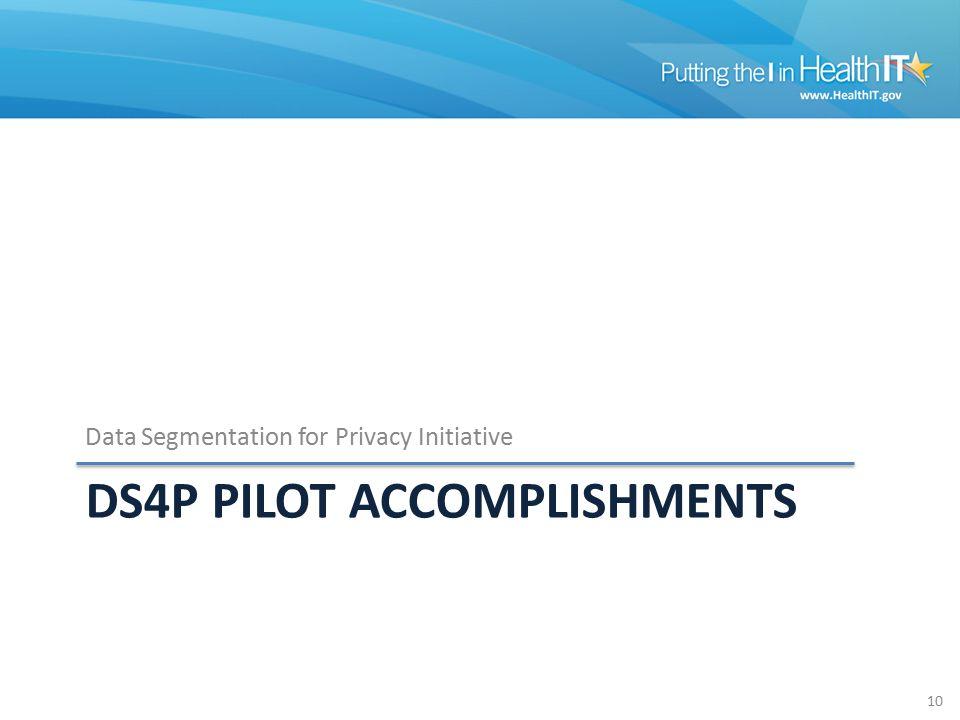 DS4P PILOT ACCOMPLISHMENTS Data Segmentation for Privacy Initiative 10