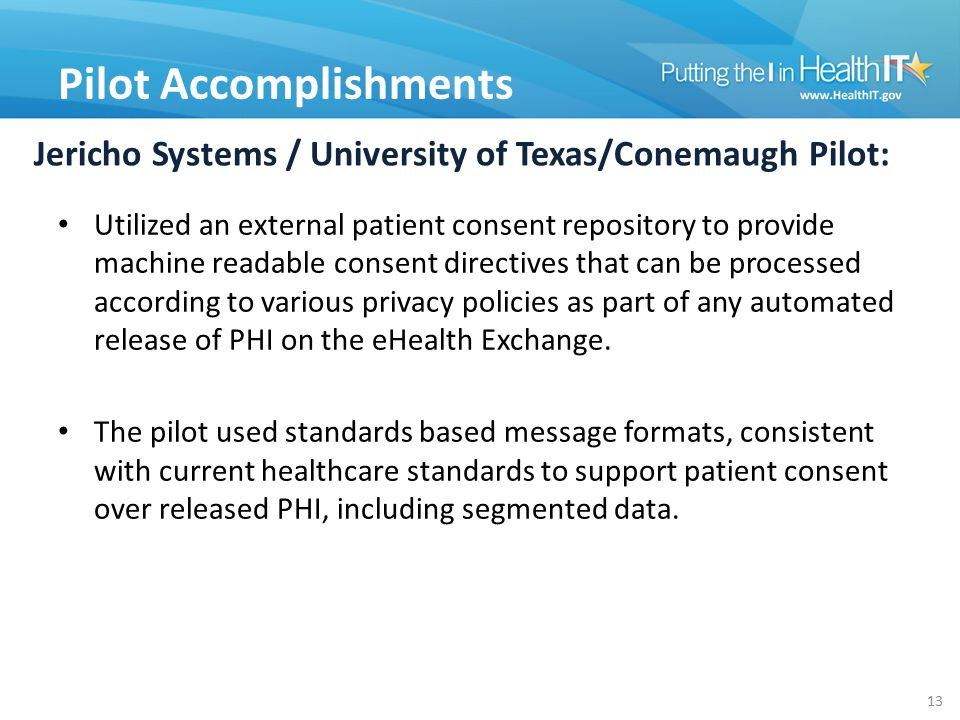 Jericho Systems / University of Texas/Conemaugh Pilot: Utilized an external patient consent repository to provide machine readable consent directives