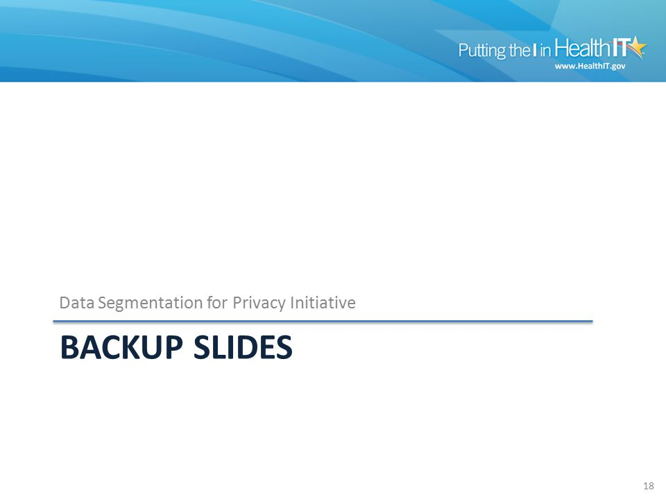BACKUP SLIDES Data Segmentation for Privacy Initiative 18