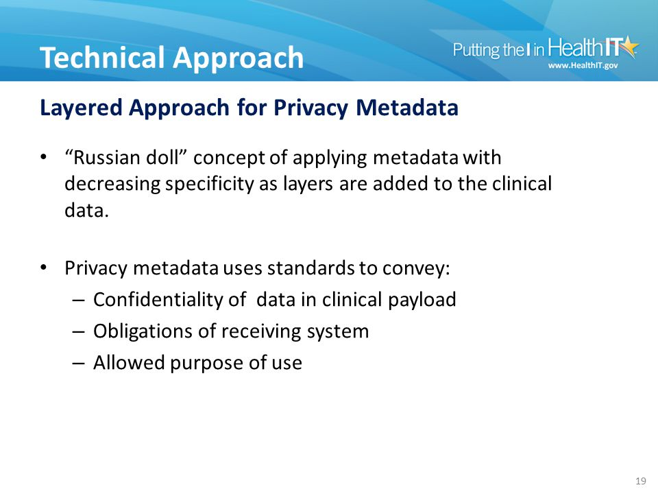 """Layered Approach for Privacy Metadata """"Russian doll"""" concept of applying metadata with decreasing specificity as layers are added to the clinical data"""