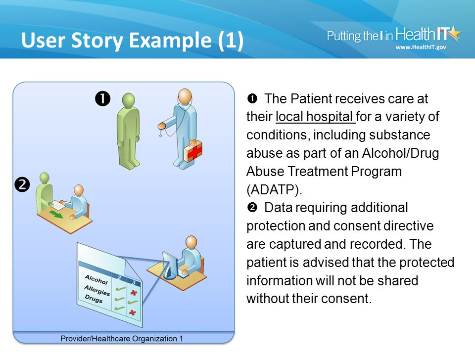 User Story Example (1)  The Patient receives care at their local hospital for a variety of conditions, including substance abuse as part of an Alcoho