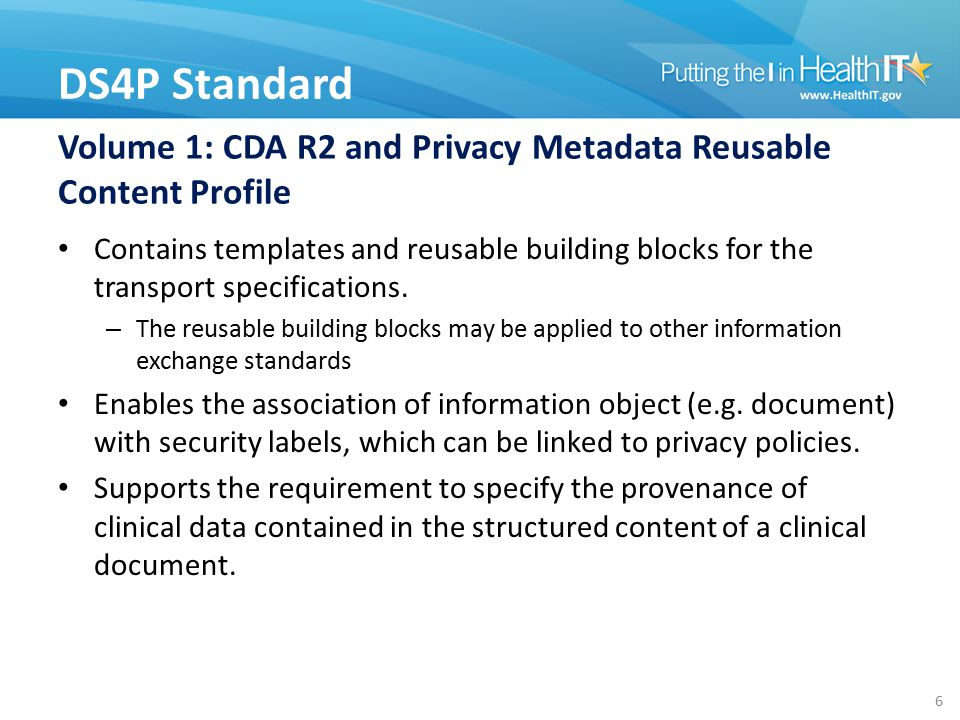 Volume 1: CDA R2 and Privacy Metadata Reusable Content Profile Contains templates and reusable building blocks for the transport specifications.