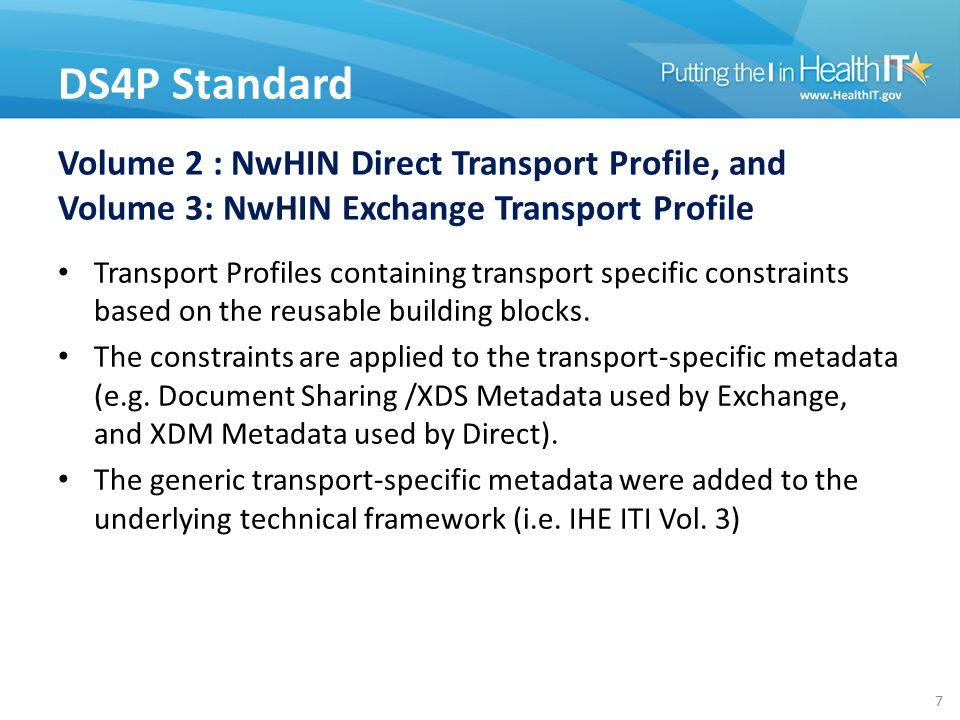 Volume 2 : NwHIN Direct Transport Profile, and Volume 3: NwHIN Exchange Transport Profile Transport Profiles containing transport specific constraints based on the reusable building blocks.
