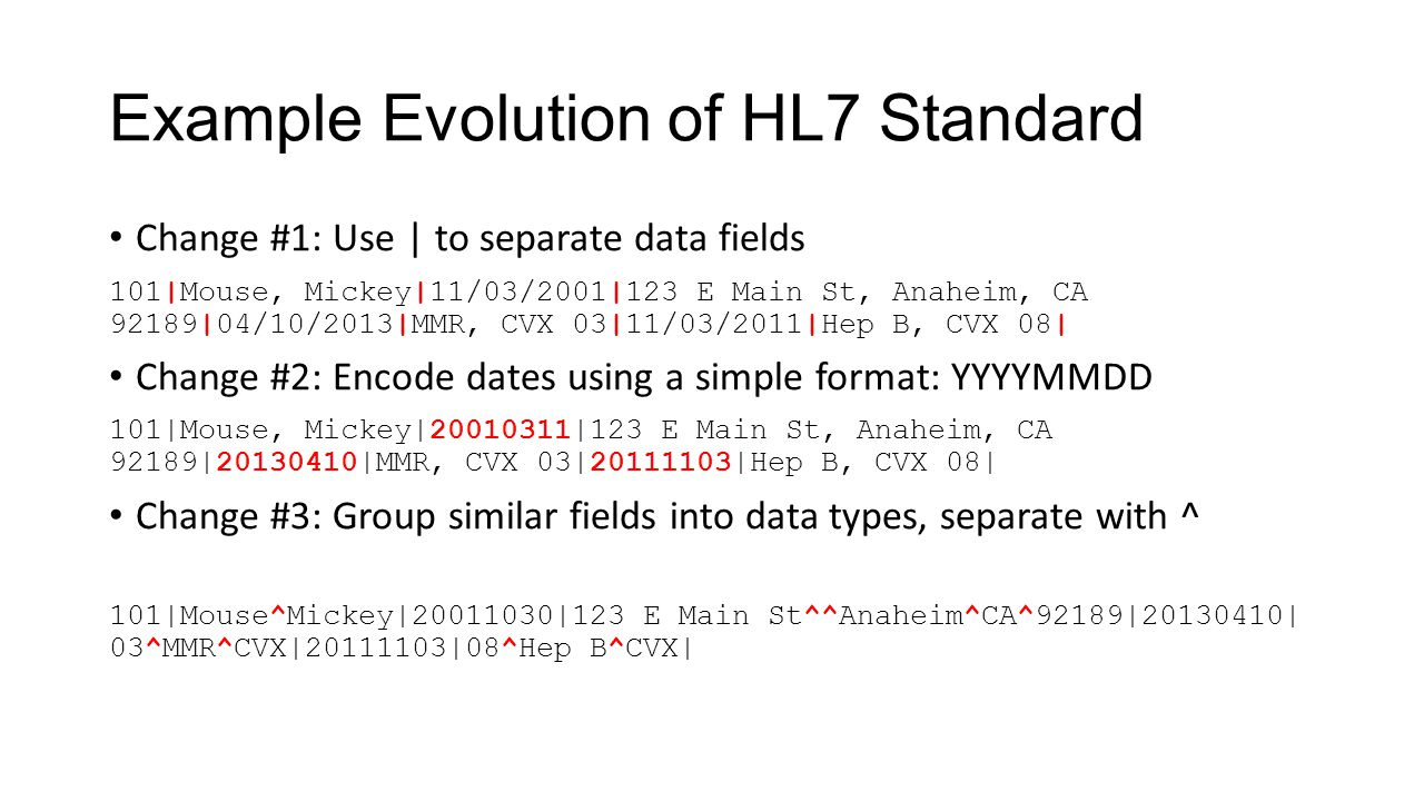 Example Evolution of HL7 Standard Change #1: Use | to separate data fields 101|Mouse, Mickey|11/03/2001|123 E Main St, Anaheim, CA 92189|04/10/2013|MM