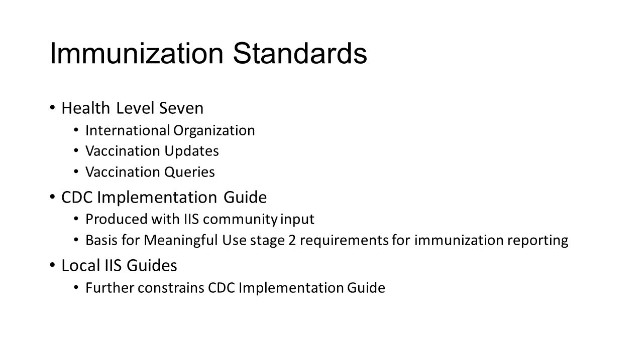 Immunization Standards Health Level Seven International Organization Vaccination Updates Vaccination Queries CDC Implementation Guide Produced with II