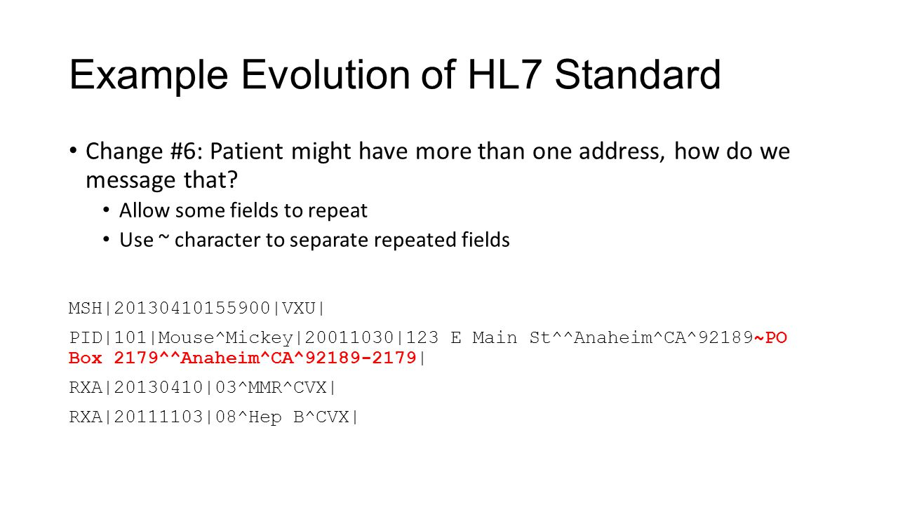 Example Evolution of HL7 Standard Change #6: Patient might have more than one address, how do we message that? Allow some fields to repeat Use ~ chara