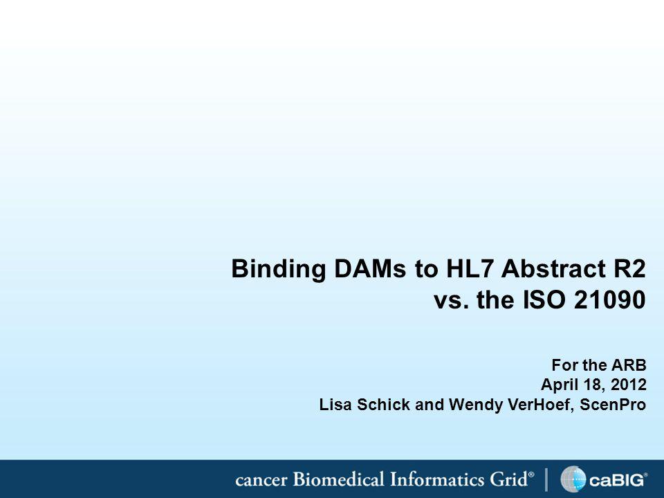 1 Binding DAMs to HL7 Abstract R2 vs.