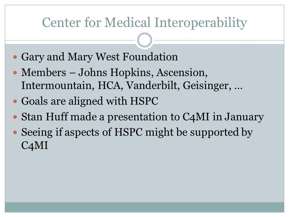Center for Medical Interoperability Gary and Mary West Foundation Members – Johns Hopkins, Ascension, Intermountain, HCA, Vanderbilt, Geisinger, … Goa