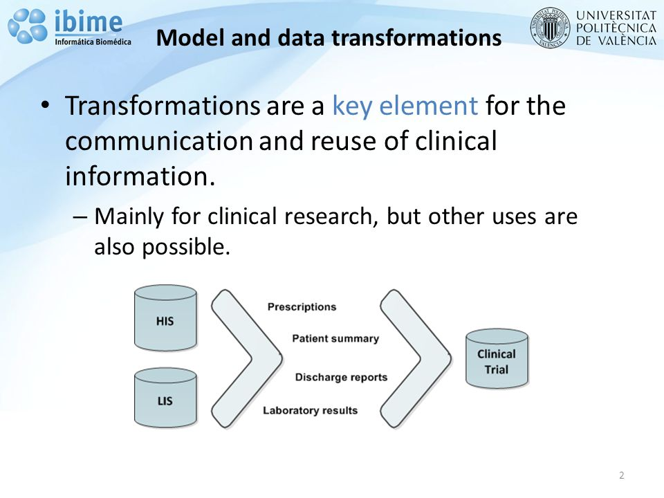Model and data transformations Transformations are a key element for the communication and reuse of clinical information.