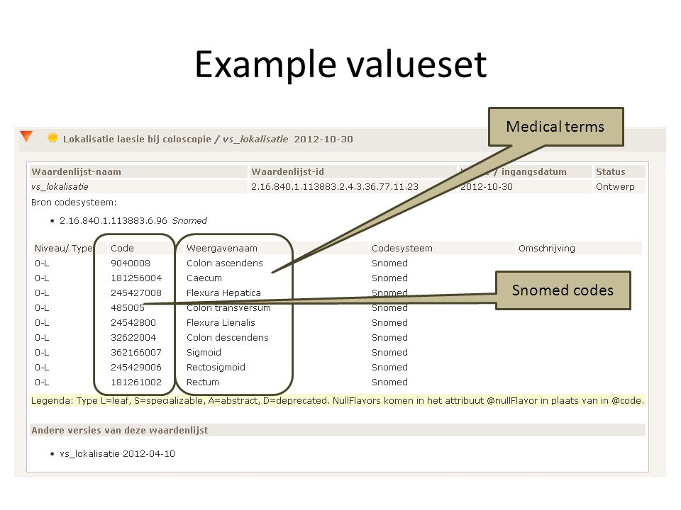Example valueset Medical terms Snomed codes