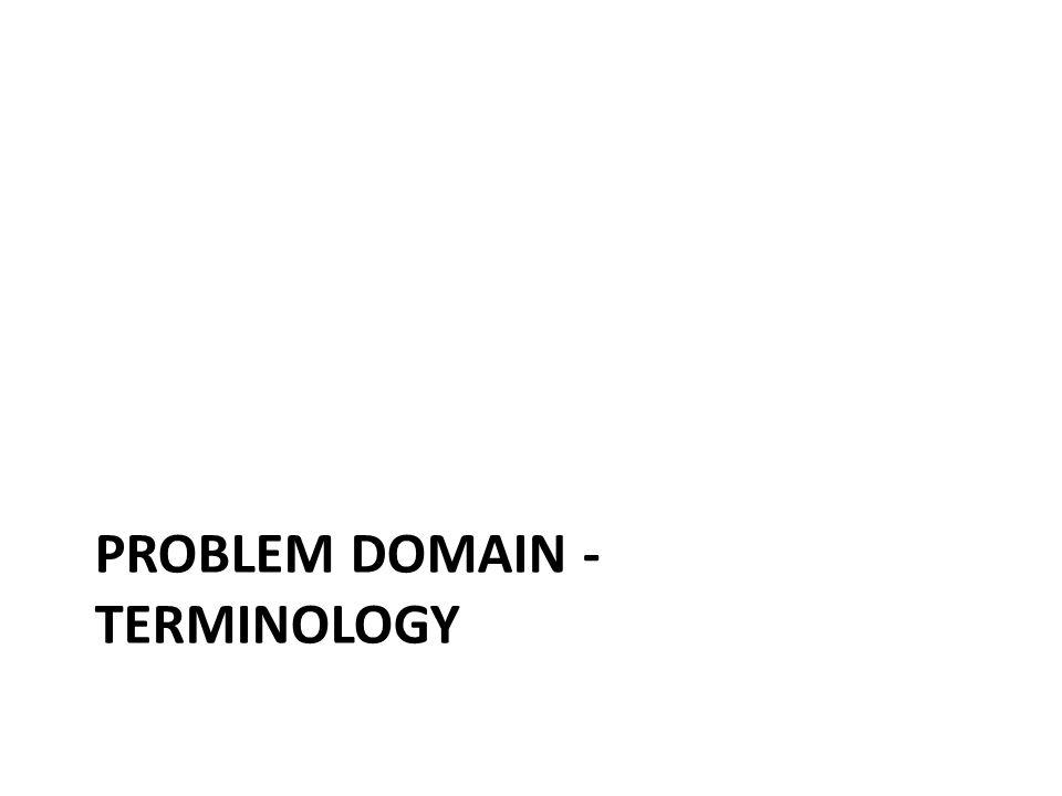 PROBLEM DOMAIN - TERMINOLOGY