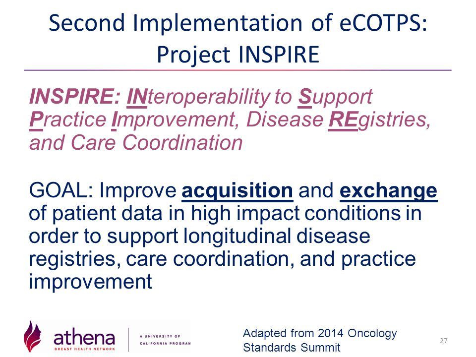 Second Implementation of eCOTPS: Project INSPIRE INSPIRE: INteroperability to Support Practice Improvement, Disease REgistries, and Care Coordination