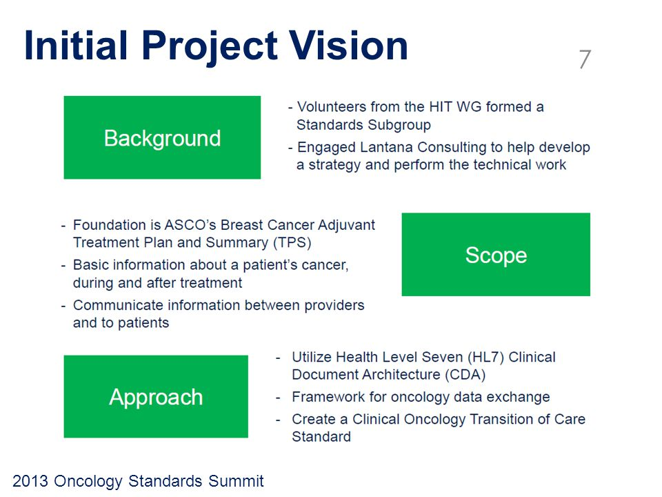 Initial Project Vision 2013 Oncology Standards Summit 7