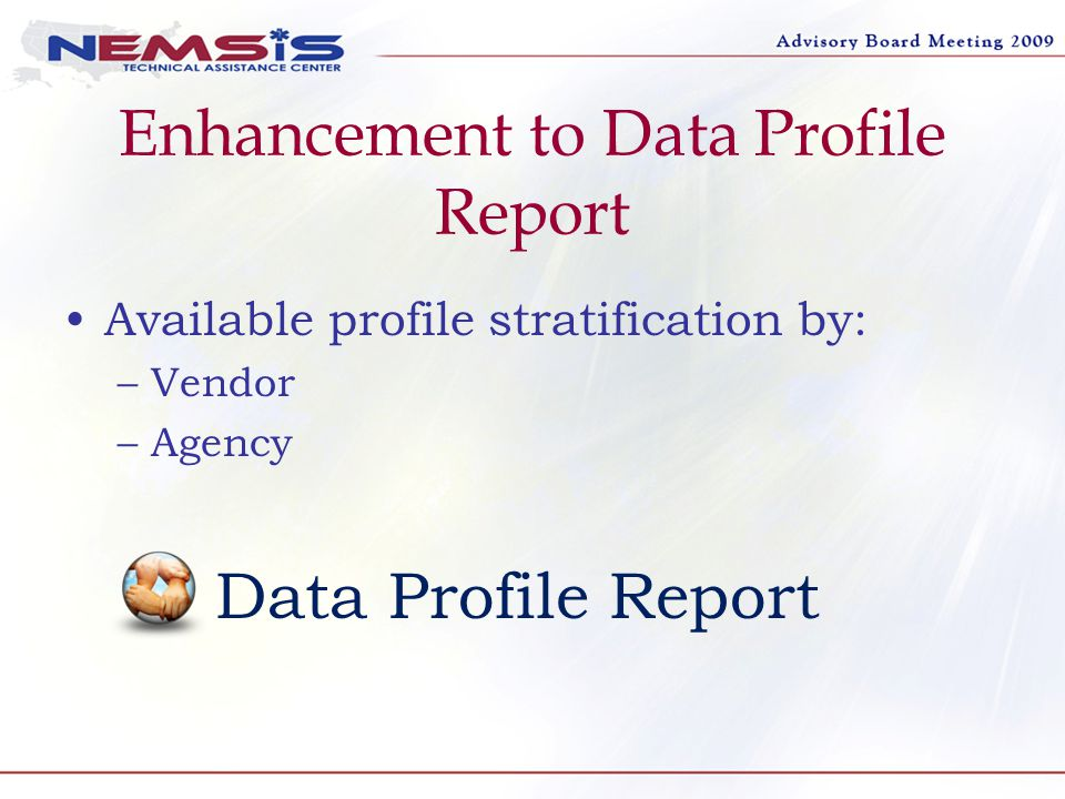 Enhancement to Data Profile Report Available profile stratification by: –Vendor –Agency Data Profile Report