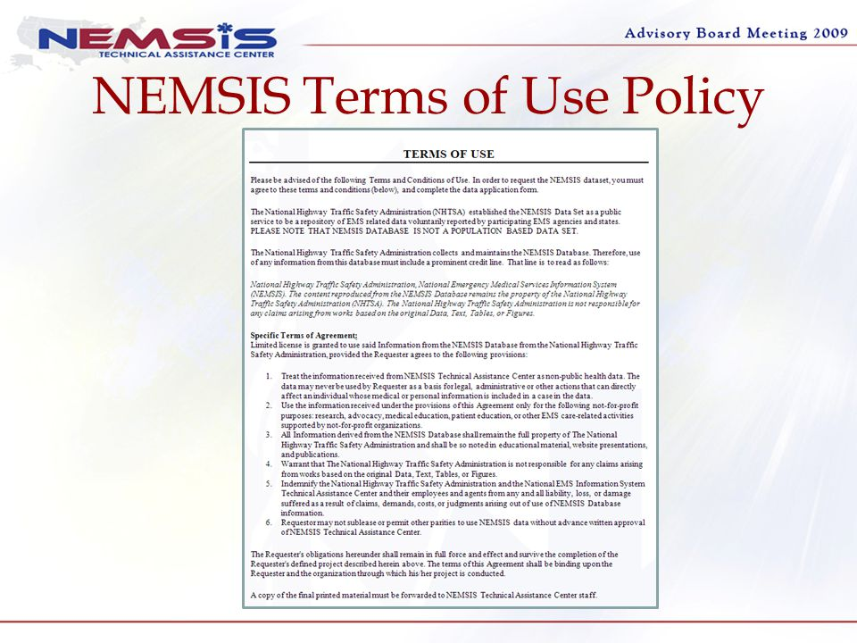 NEMSIS Terms of Use Policy