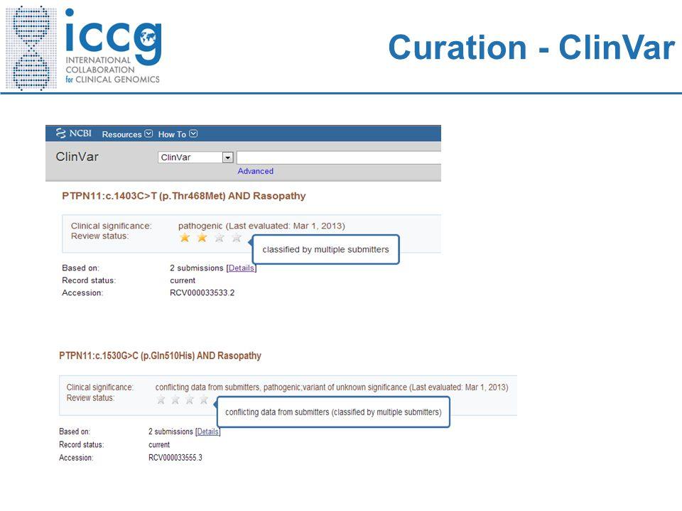 Curation - ClinVar