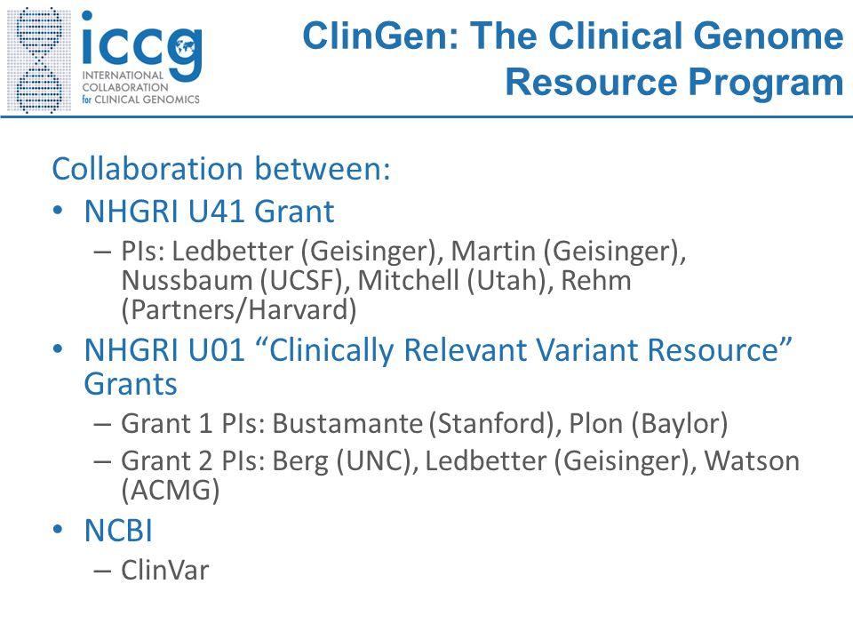 ClinGen: The Clinical Genome Resource Program Collaboration between: NHGRI U41 Grant – PIs: Ledbetter (Geisinger), Martin (Geisinger), Nussbaum (UCSF)