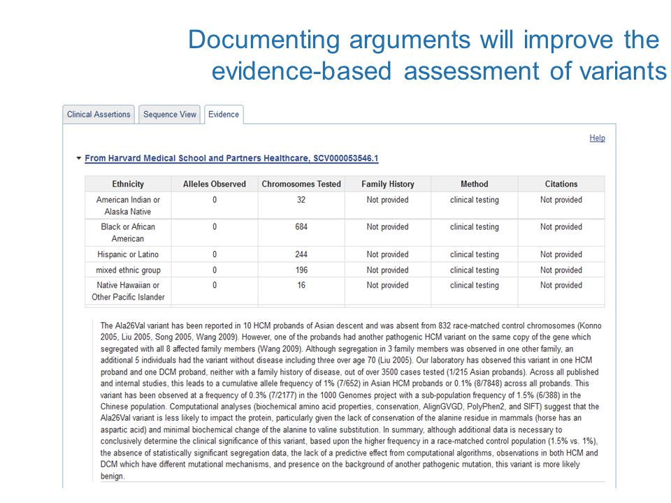 Documenting arguments will improve the evidence-based assessment of variants