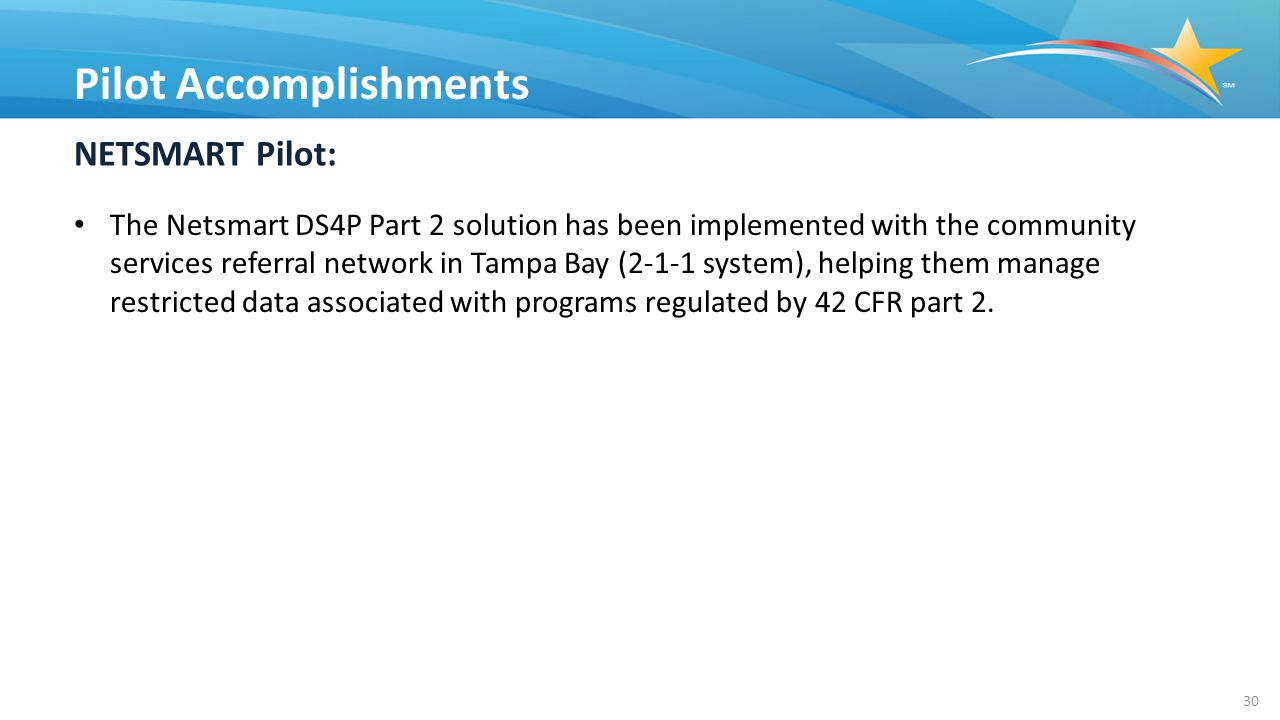 NETSMART Pilot: The Netsmart DS4P Part 2 solution has been implemented with the community services referral network in Tampa Bay (2-1-1 system), helping them manage restricted data associated with programs regulated by 42 CFR part 2.