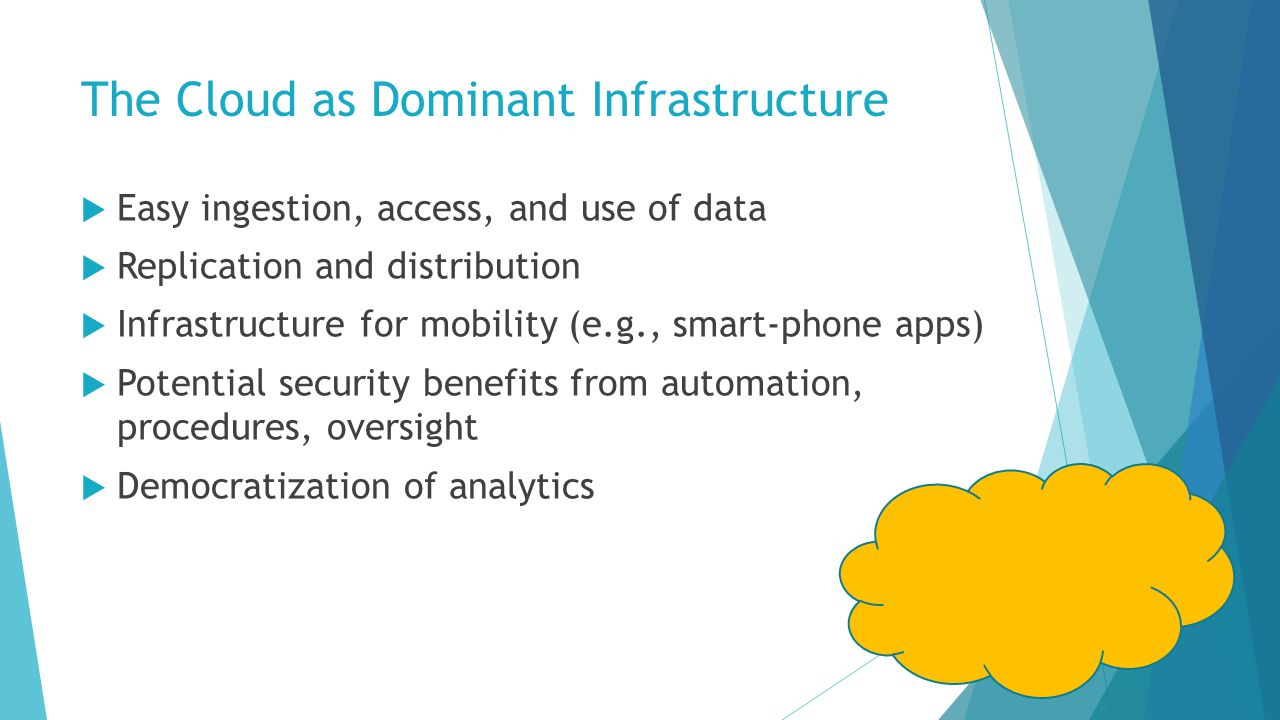 The Cloud as Dominant Infrastructure  Easy ingestion, access, and use of data  Replication and distribution  Infrastructure for mobility (e.g., smart-phone apps)  Potential security benefits from automation, procedures, oversight  Democratization of analytics