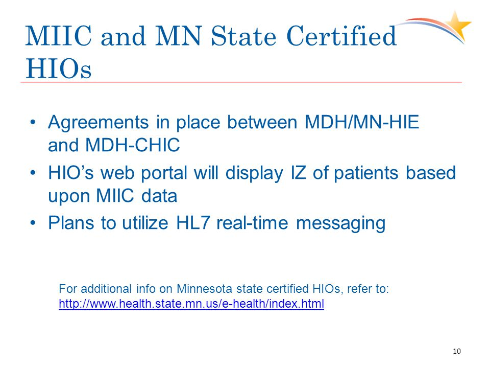 MIIC and MN State Certified HIOs Agreements in place between MDH/MN-HIE and MDH-CHIC HIO's web portal will display IZ of patients based upon MIIC data Plans to utilize HL7 real-time messaging For additional info on Minnesota state certified HIOs, refer to: