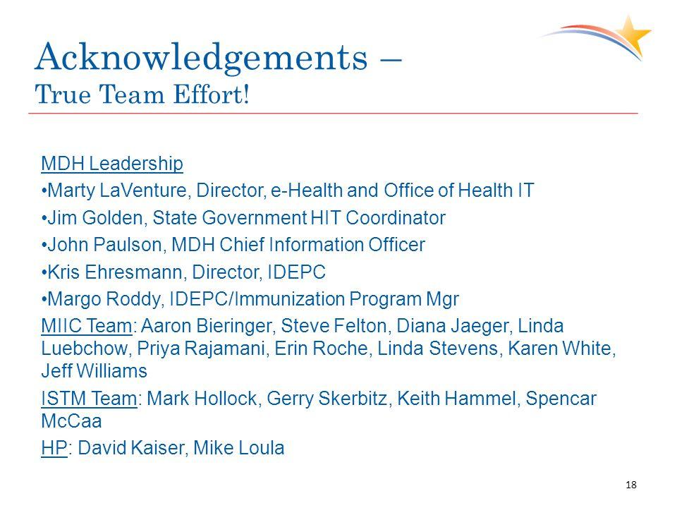 Acknowledgements – True Team Effort.