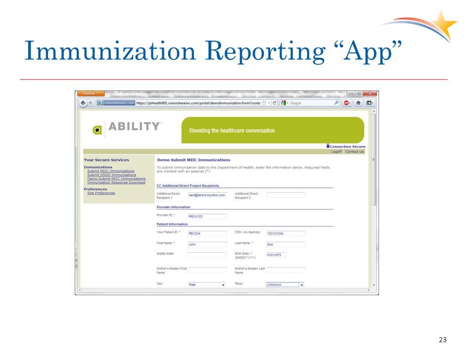Immunization Reporting App 23