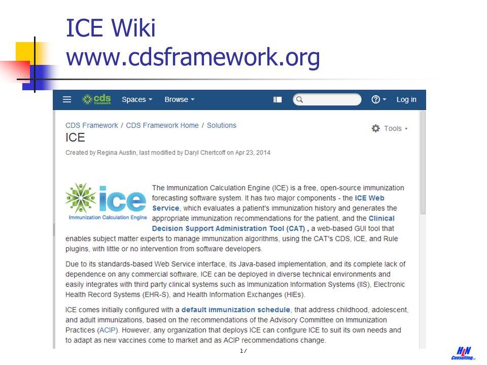 17 ICE Wiki www.cdsframework.org