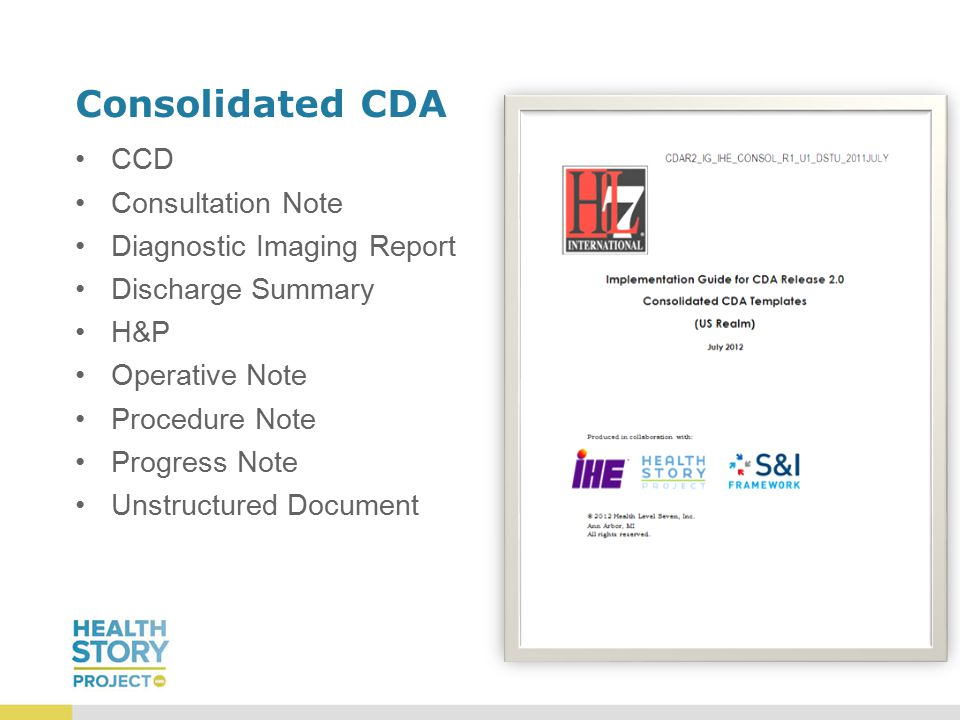 Consolidated CDA CCD Consultation Note Diagnostic Imaging Report Discharge Summary H&P Operative Note Procedure Note Progress Note Unstructured Document