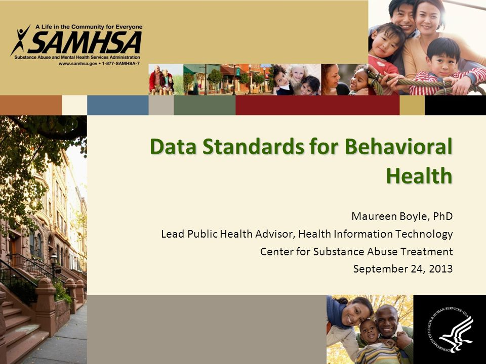 Maureen Boyle, PhD Lead Public Health Advisor, Health Information Technology Center for Substance Abuse Treatment September 24, 2013 Data Standards for Behavioral Health