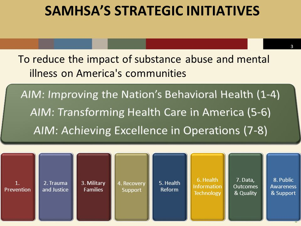 3 SAMHSA'S STRATEGIC INITIATIVES To reduce the impact of substance abuse and mental illness on America s communities 1.