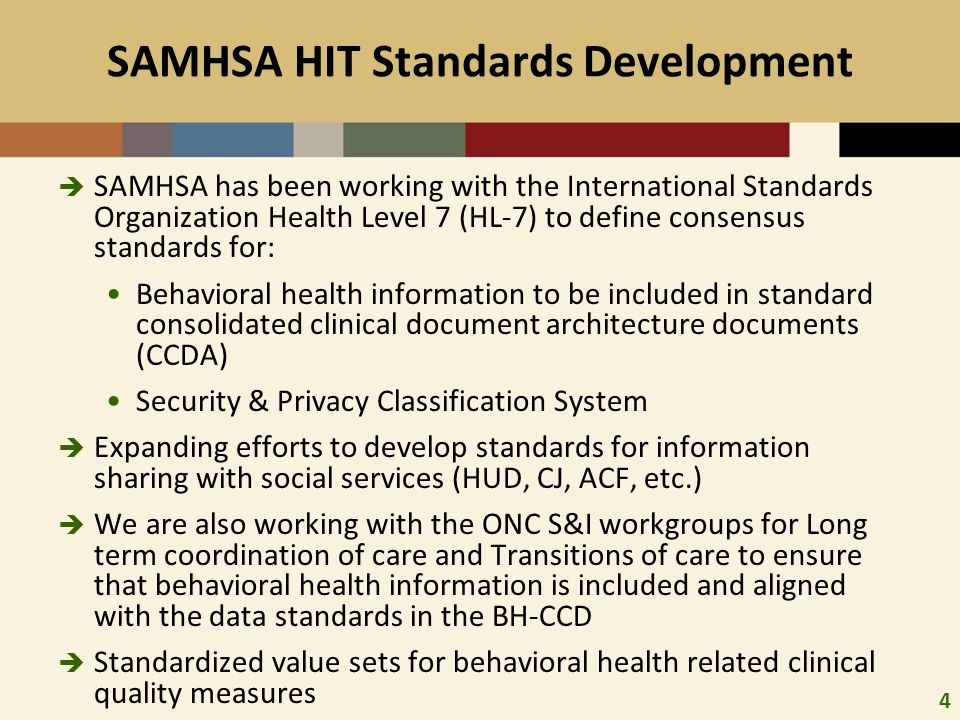 5 Standards Development  Behavioral Health CCD Workgroup http://www.hl7.org/special/committees/projman/searcha bleprojectindex.cfm?action=edit&ProjectNumber=800http://www.hl7.org/special/committees/projman/searcha bleprojectindex.cfm?action=edit&ProjectNumber=800  Data Segmentation for Privacy http://wiki.siframework.org/Data+Segmentation+for+Priv acyhttp://wiki.siframework.org/Data+Segmentation+for+Priv acy http://www.hl7.org/Special/committees/secure/index.cfm  Transitions of Care http://wiki.siframework.org/Transitions+of+Care+%28ToC %29+Initiativehttp://wiki.siframework.org/Transitions+of+Care+%28ToC %29+Initiative