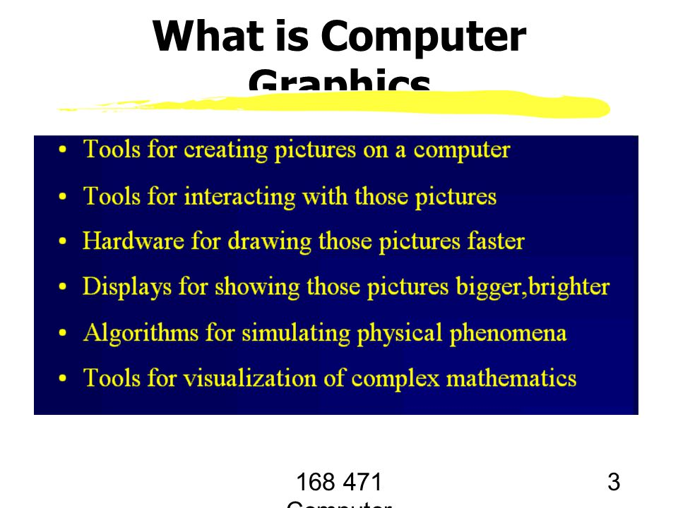 168 471 Computer Graphics, KKU. Lecture 1 3 What is Computer Graphics