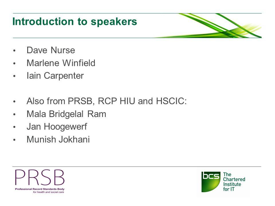 Introduction to speakers Dave Nurse Marlene Winfield Iain Carpenter Also from PRSB, RCP HIU and HSCIC: Mala Bridgelal Ram Jan Hoogewerf Munish Jokhani