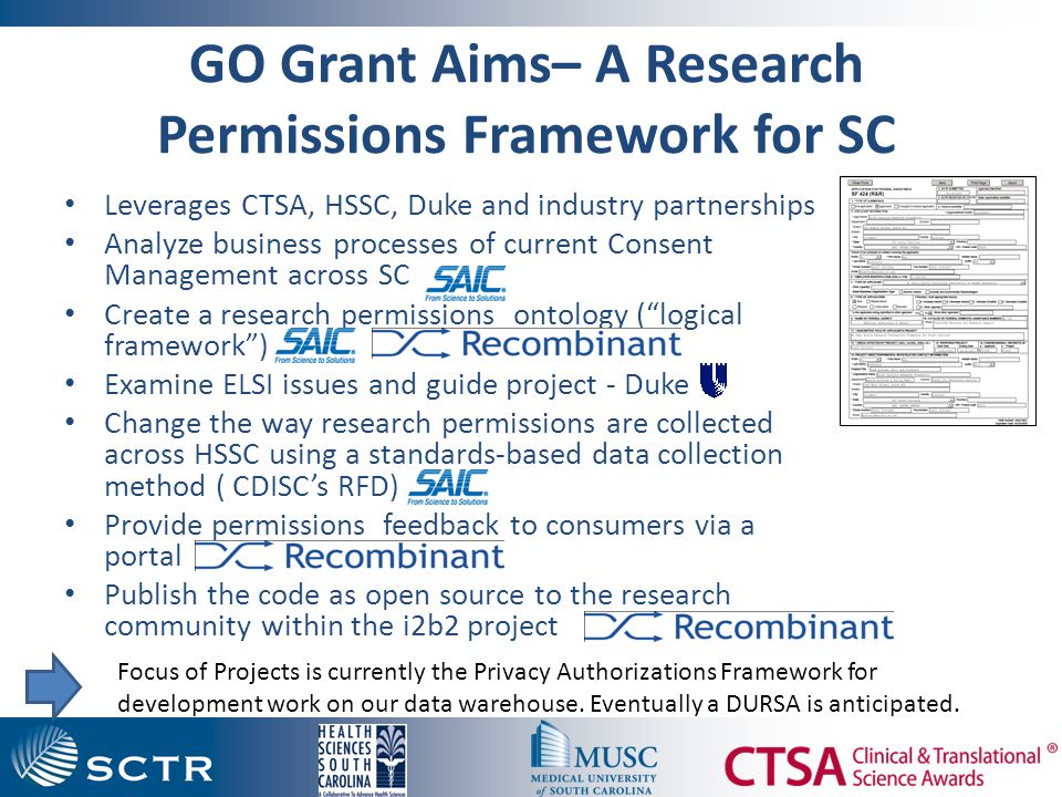 GO Grant Aims– A Research Permissions Framework for SC Leverages CTSA, HSSC, Duke and industry partnerships Analyze business processes of current Consent Management across SC Create a research permissions ontology ( logical framework ) Examine ELSI issues and guide project - Duke Change the way research permissions are collected across HSSC using a standards-based data collection method ( CDISC's RFD) Provide permissions feedback to consumers via a portal Publish the code as open source to the research community within the i2b2 project Focus of Projects is currently the Privacy Authorizations Framework for development work on our data warehouse.
